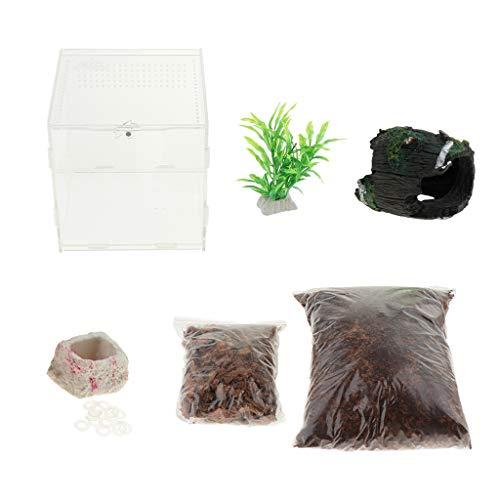 non-brand Terrarium Zuchtbox Fütterungsbox mit Bodensubstrat, Kunstpflanze und Dekoration für Reptilien und Amphibien, 15x15x15cm - mit Eimer