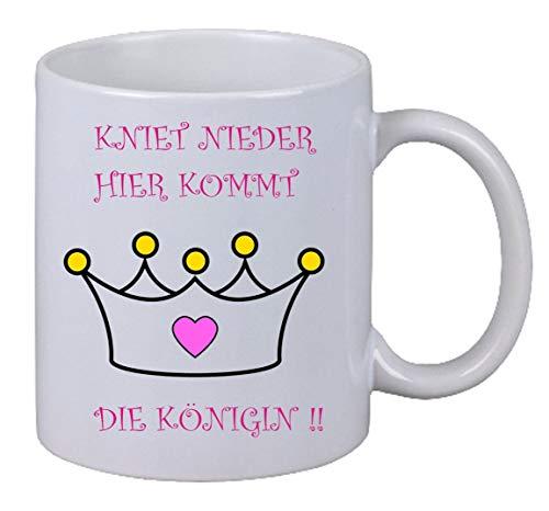 Netspares 119011079 Kaffee Tasse Kniet nieder hier kommt die Königin Fun Weihnachten Geschenk Büro, Weiß
