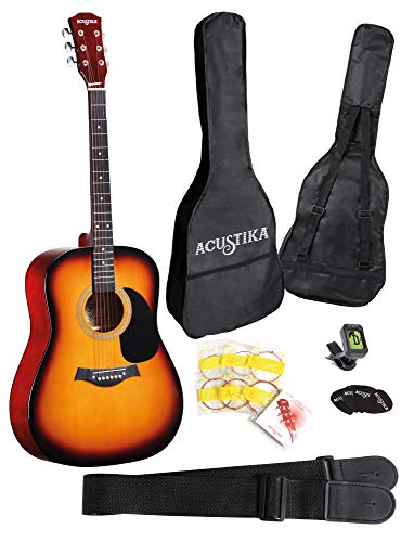 "ACUSTIKA F310 Chitarra Acustica - Chitarra Acustica no cut-away misura 41"" (105x40x10) cm in Legno - 6 Corde in Acciaio, colore Sun Brust."