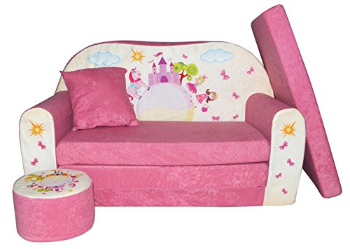 FORTISLINE Kindersofa Kindercouch Aufklappen Bettfunktion + Hocker W319 Viele Muster (Pink Castle)
