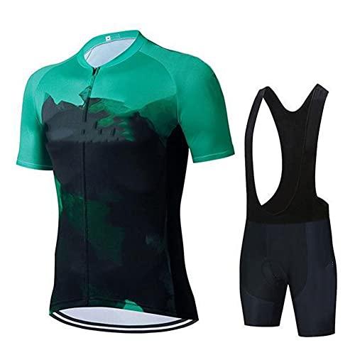 LILIS Herren Radtrikot Set Herren Fahrradbekleidung Set, Kurzarm Trikot + Radlerhose Mit Sitzpolster Atmungsaktiv Und Schnell Trocknend Stoff (Color : Green1, Size : B(M))