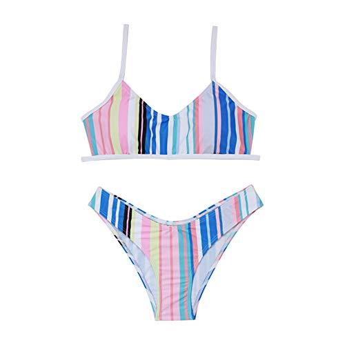 Rtyoo Erotische Kostüme für Damen Sexy Bikini Print gewickelt Brust Leibchen überlappende Anpassung Strand Bikini Anzug Badeanzug Damen Badebekleidung-White_L