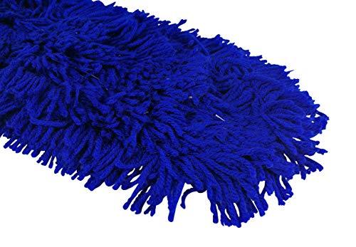 1a Profiline AM80 Droog vloerwisser wisovertrek met franjes van acryl en drukknopen, wasbare mop, overtrek blauw, stofwisser vloer harde vloerbedekking, stofmop, reserveovertrek, 80 cm