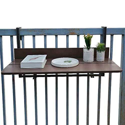 XLAHD Hängende Tische, Balkontisch Tragbarer Klapptisch Verstellbarer Klapptisch Garten-Terrassengeländer Laptop-Schreibtisch Lesetisch Schwarzer Klapp-Esstisch aus Holz