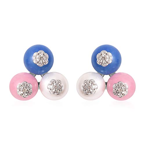 925 Sterling Silver Rhodium Plated Round Beads Blue Dyed Jade Pink Jade Flower Stud Solitaire Earrings Anniversary Jewelry for Women