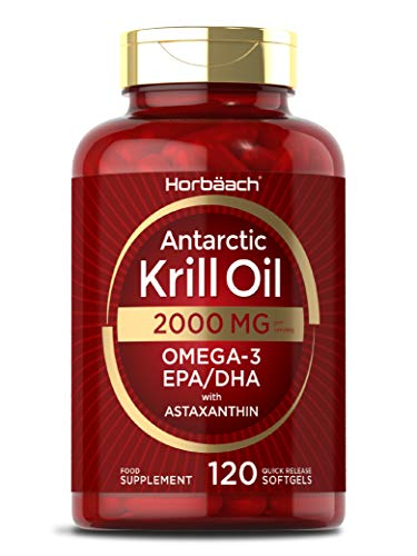 Antarctic Krill Oil 2000mg   120 Capsules   Omega 3s EPA, DHA, Astaxanthin   for Healthy Heart, Joints & Immune Support   by Horbaach