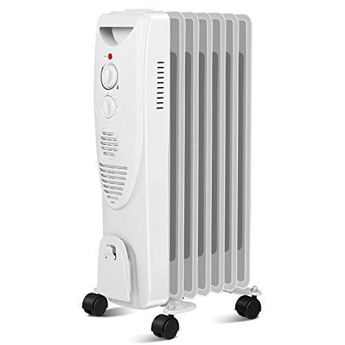 Electric Space Heater 1500W, Portable Oil Heater with 3 Heat Settings, Oil Filled Radiator Heater for Home/Office, Grey