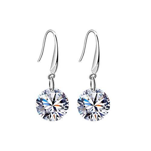 Ladies use gold-plated earrings, cubic zirconia earrings, diamond earrings, 925 sterling silver round cut diamond earrings