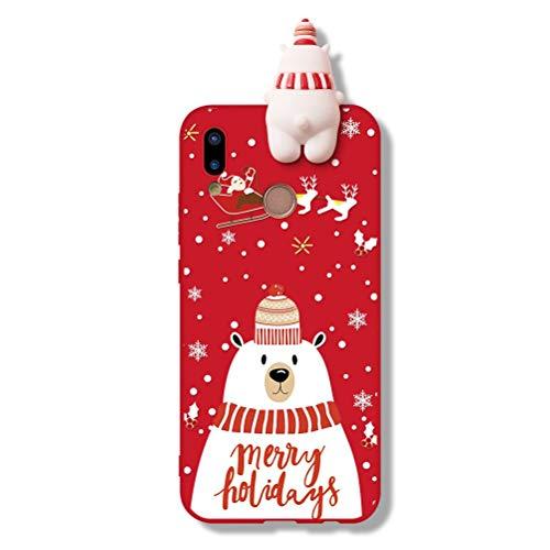 KAPUCTW Capa de Natal para Samsung Galaxy J6 Plus (6 polegadas) Capa traseira de silicone 3D com personagem de desenho animado fofo, personagem de urso polar fino à prova de choque para crianças e meninas, capa protetora de TPU (poliuretano termoplástico), vermelha 5