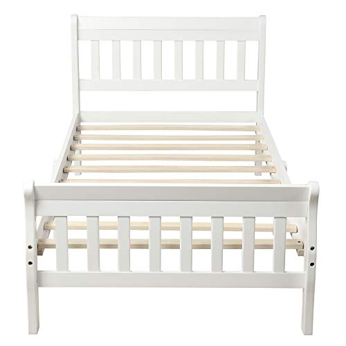 DOOMMY Panel Bed Mattress Foundation Sleigh Bed with Headboard/Footboard/Wood Slat Support, Wood Platform Bed Twin Bed Frame