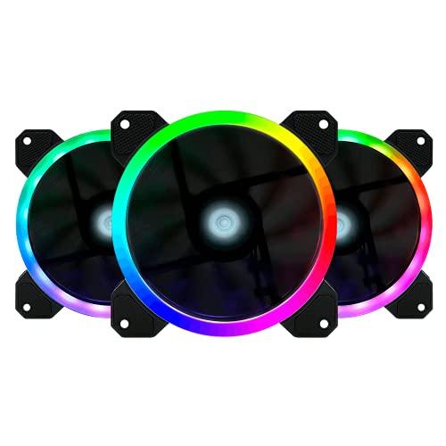 GAME FACTOR Kit 3 Ventiladores 120MM C/Control RGB 2 Tiras Led 30 CM FKG400