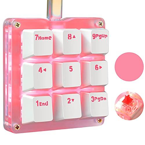Koolertron One Handed Macro Mechanical Keyboard, Pink LED Backlit Portable Mini One-Handed Mechanical Gaming Keypad OSU! Keyboard 9 Fully Programmable Keys Red Switches