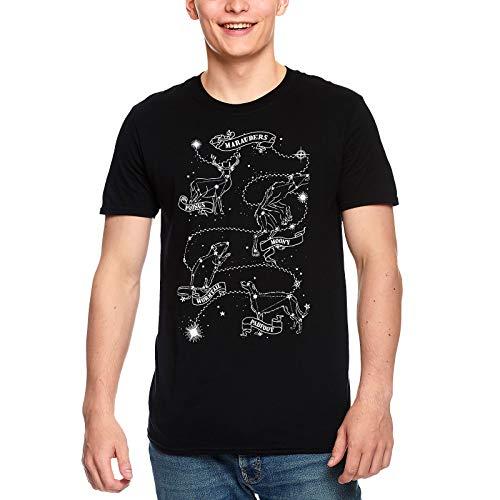 Harry Potter Herren T-Shirt Marauders Astrology Rumtreiber Sternbilder Baumwolle schwarz - M
