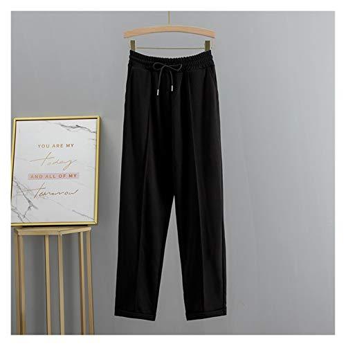 CML S-2XL Plus Size Frauen Harem Hosen Hohe Taille Elastische Kordelzug Solide Peg Bein Fly Hose Arbeitskleidung Hosen Karottenhosen (Color : Black, Size : XXL)
