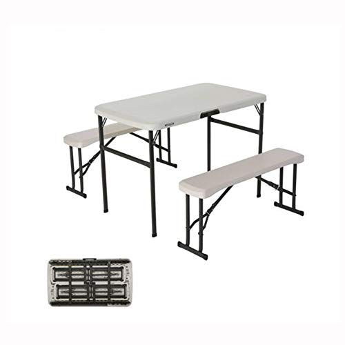 QIDI Pliant Table Banc De Plein Air Camping Collation Pique-Nique Fête Un Barbecue Bureau Poids Léger Portable Durable Imperméable Accueil Jardin (Couleur : Blanc)