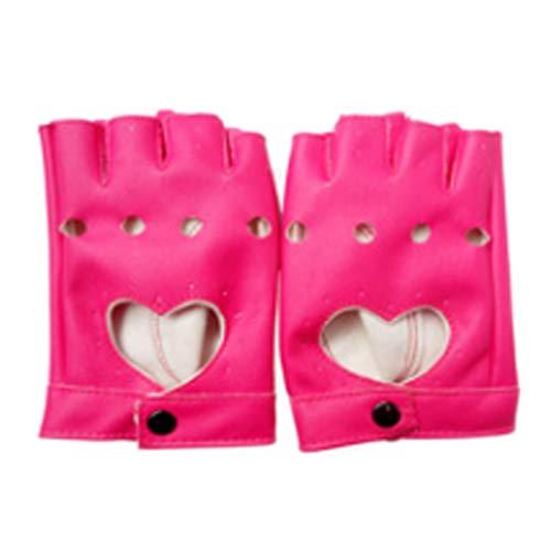 liaobeiotry Damen Halbfinger-Handschuhe, cooles Herz, hohles Kunstleder, für Nachtclub, Shows, Tanz, Fitness, fingerlos, Damen, rose pink, Einheitsgröße