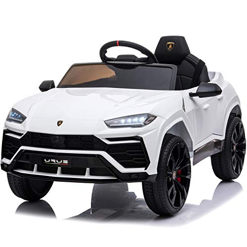 Little Brown Box Kids 12V Licensed Lamborghini Urus Ride on Truck, Driving Battery Operated Car Toy W/ Parent Remote-Control, Sounds, LED Lights, 2 Speeds - for Toddler, 1,2,3,4 + Years Old - White