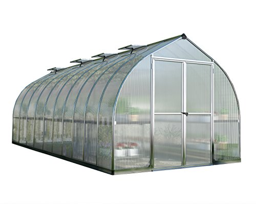 Palram Bella Hobby Greenhouse, 8' x 20', Silver with Twin Wall Glazing