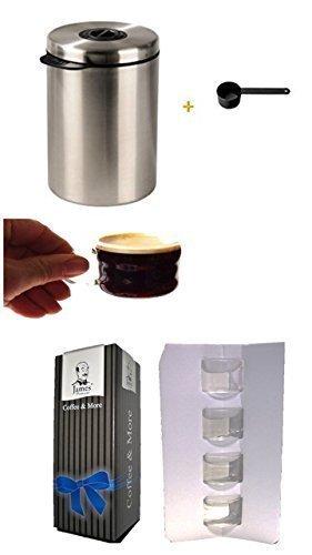 Xavax Edelstahldose für 1kg Kaffeebohnen, Tee, Kakao, mit Aromadeckel silber + Löffel +Espressotassen in Geschenkbox 4er Set mit Henkel 100ml