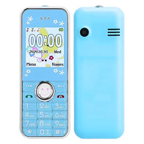 Annadue Mini teléfono móvil Bluetooth para niños y Ancianos, 32 MB + 32 MB Tarjetas Dobles de 1,44 Pulgadas Teléfono móvil de Doble Modo de Espera, con Funda Protectora, fácil de Llevar.(Azul)