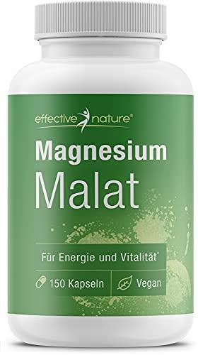 effective nature - Magnesium Malat - 150 Kapseln - Pro Tagesdosis 2500mg - Gute Verträglichkeit u. Bioverfügbarkeit - Hergestellt u. laborgeprüft in Deutschland