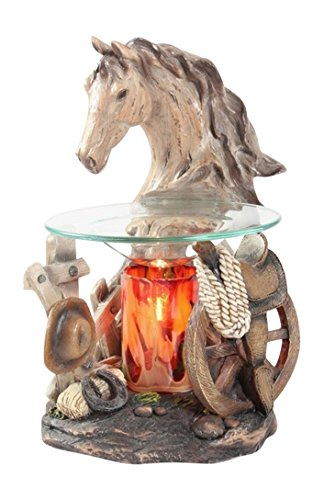 Poly Resin Horse Head Electric Oil Warmer or Tart Burner with Free Pack of HAPPINESS Tart Melts and Free Replacement Bulb