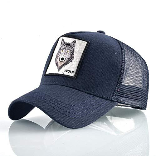 Gorras de béisbol de Moda Hombres Mujeres Snapback Hip Hop Sombrero Verano Malla Transpirable Sun Gorras Unisex Streetwear-Blue Wolf