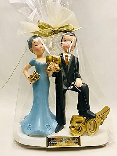 Figura pastel bodas de oro 50 aniversario GRABADA muñecos PERSONALIZADOS tarta baratas