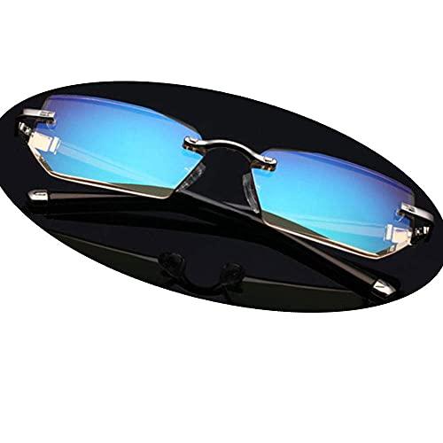 ZZAI Gafas de Lectura sin Marco Diamond Cut Borde Anti-Blue Light Light HD Anti-Fatiga Lectura de la Moda/Lentes de espectáculo recubiertas (6 dioptrías) Silver- + 2.0 (Color : Silver, Size : +2.5)