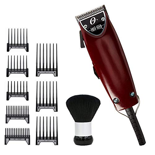 Oster Fast Feed Adjustable Pivot Motor Clipper 76023-510 with Bonus Oster 8 Guide Comb Set and Neck Duster
