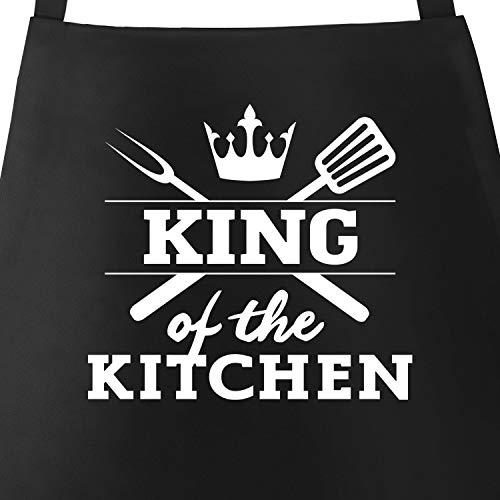 MoonWorks Grill-Schürze für Männer mit Spruch King of The Kitchen Küchenschürze schwarz Unisize