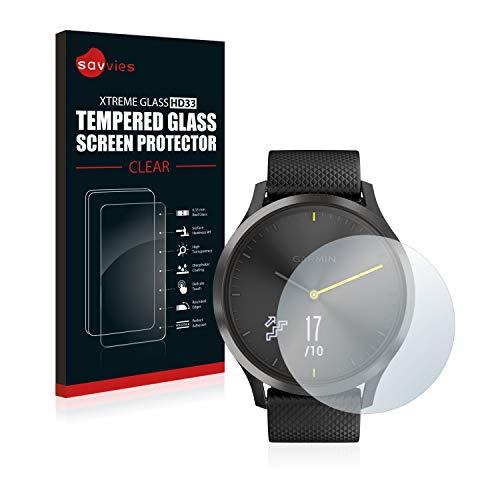 savvies Pellicola Vetro Temperato Compatibile con Garmin vivomove HR Protezione, Schermo Protettivo, Glass Durezza 9H