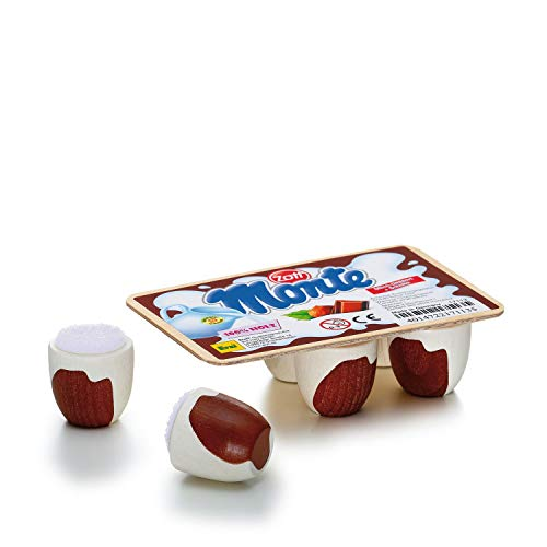 Erzi 17113 Schoko-Milch-Dessert Monte von Zott aus Holz, Kaufladenartikel für Kinder, Rollenspiele