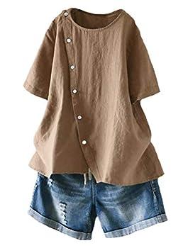 Minibee Women s Linen Blouse Tunic Short Sleeve Shirt Tops with Buttons Decoration Coffee 2XL