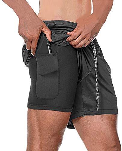 Danfiki Pantaloncini Sportivi Running da Corsa 2 in 1Uomo Shorts con Tasca con Zip per Jogging Fitness Asciugatura Jogging Fodera più Lunga