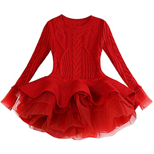 Generic Christmas Sweater Dresses for Girls Ruffle Sweater Long Sleeves Tutu Dress Stitching Knitting Pullover Tops for Kids (Red,140)
