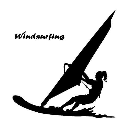 TMANQ Calcomanías de vinilo para coche, 15,9 x 16,7 cm, para deportes acuáticos, windsurf, surf, playa, estilo de moda, color negro y plateado