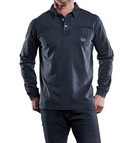 engbers Herren Poloshirt Langarm, 28914, Blau in Größe 3XL