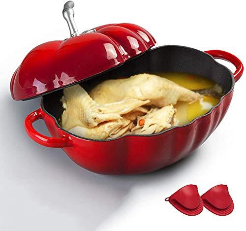 Cazuela Cocotte de Tomate de Hierro Fundido, Plato de cazuela Holandesa del Horno holandés de Hierro Fundido con Guantes de Silicona, para Carnes y Verduras de cocción Lenta, Rojo ZSM