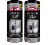 Weiman Stainless Steel Cleaner Wipes (2 Pack) Fingerprint Resistant, Removes Residue, Water Marks and Grease from Appliances - Works Great on Refrigerators, Dishwashers, Ovens, and Grills
