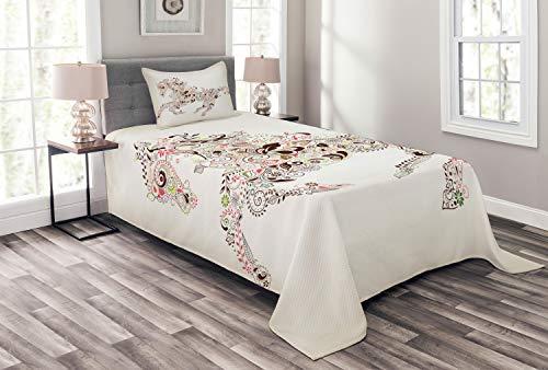ABAKUHAUS Abstrakt Tagesdecke Set, Floral Pferd Paisley, Set mit Kissenbezug Romantischer Stil, für Einzelbetten 170 x 220 cm, Grün braun Rosa