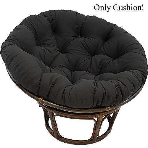MSM Furniture Waterproof Papasan Chair Cushion,Overstuffed Swing Rattan Hanging Egg Seat Cushion,Round Thicken Comfy Outdoor Chair Pad Black 50x50cm/20x20inch