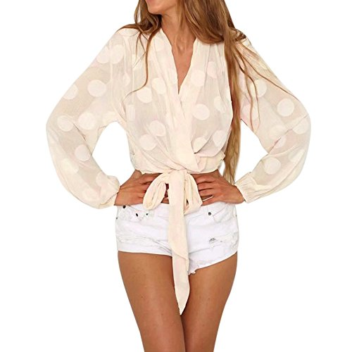 VECDY Damen Bluse, Frau V-Ausschnitt Punkt-Ernte Oberteile Casual Langarm Bluse Sexy Transparent Shirt Sexy lace lässige Kleidung (L, Beige)