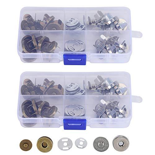 Broches de botón magnético Broches para bolso Botón de broche magnético de cierre de bolsa con caja de almacenamiento para coser, manualidades, monederos, bolsos, ropa, cuero