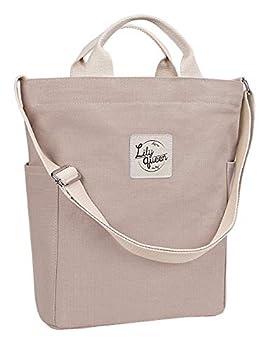 Lily Queen Women Canvas Tote Handbags Casual Hobo Shoulder Bag Crossbody  Taupe Grey