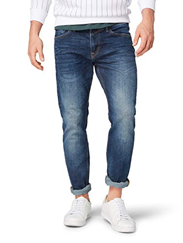 TOM TAILOR Herren Piers Slim Jeans, Blau (Used Dark Stone Blue), 33W / 34L