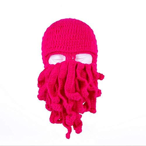 YUY Novedad Divertida Fiesta Pulpo Barba Sombrero Unisex Animal Tentáculo de Ganchillo Tejido Máscara de Viento Gorro de Esquí Sombreros de Halloween Disfraz Creativo Cosplay,Darkrose