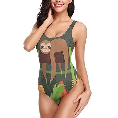 Lazy Sloth - Traje de baño de madera de una pieza de secado rápido para mujer