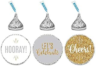 Andaz Press Signature Light Gray, White, Gold Glittering Party Collection, Chocolate Drop Labels Stickers, Fits Kisses, Ch...