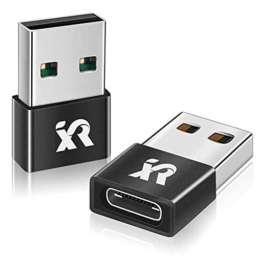 2Pack Mini USB C enchufe adaptador, tipo C hembra a USB Un cargador macho Adaptador cable de carga para iPhone 12 Pro...